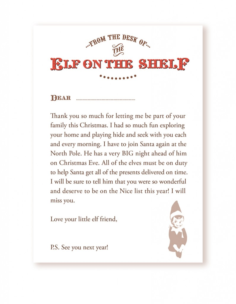 elf on the shelf goodbye letter template download