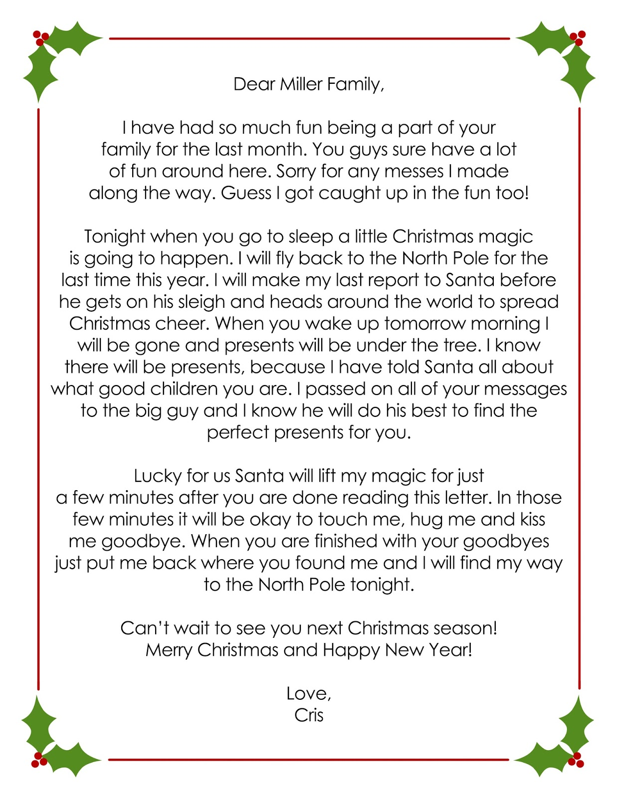 elf on the shelf farewell letter Parlobuenacocinaco