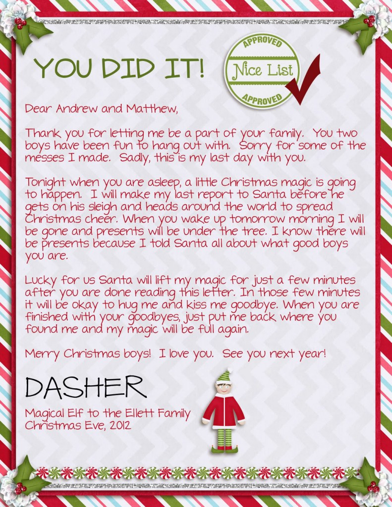 It is an image of Dramatic Elf on the Shelf Goodbye Letter Free Printable