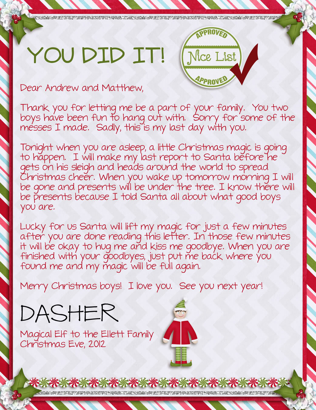 ... - Freebie Your Very Own Goodbye Letter From The Elf On The Shelf