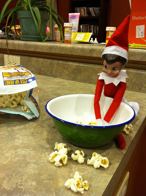 Elf on the Shelf loves Popcorn